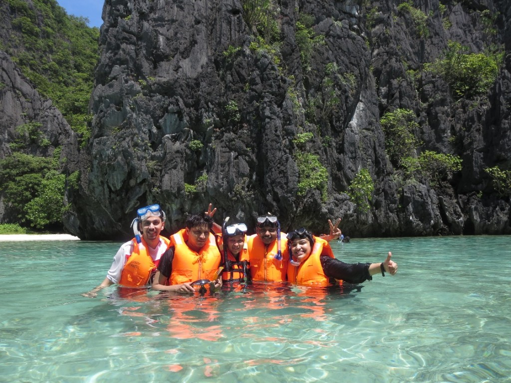 I along with my friends after snorkelling at The big lagoon, El Nido