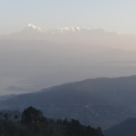 Sunrise view of the Himalayas from Anashakti Ashram